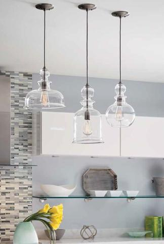 How far apart should pendant lights be over an island in the kitchen: Staunton Pendants in Kitchen large