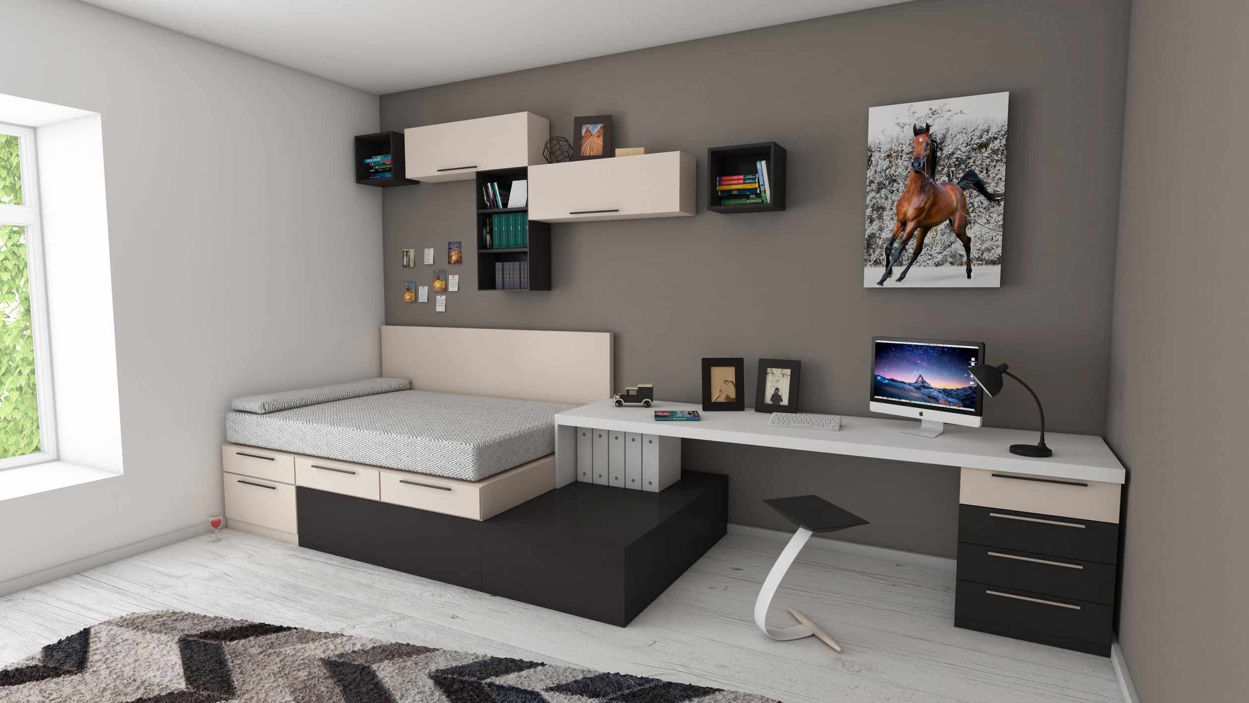 Things You Can do Immediately to Organize Your Bedroom: Shades of grey bedroom theme. Simple decoration