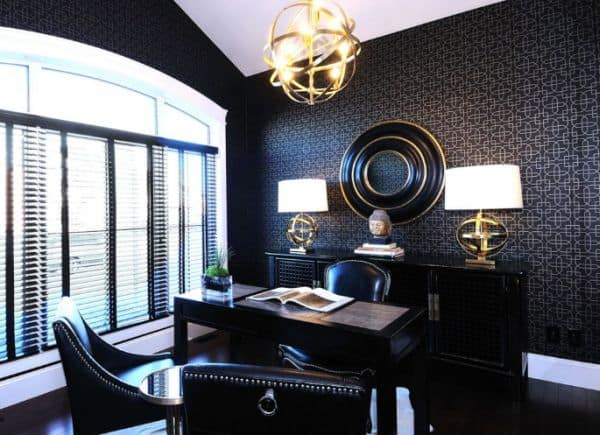 Office with dark wall paper