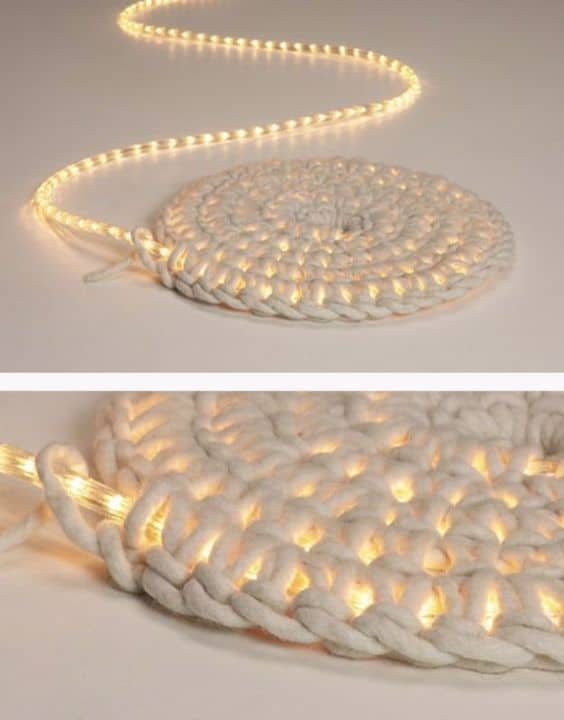 Wove in your LED light in ropes #ropeLights #lighting #lights #ledLights #stringLights #homeDecor #interiorDesign